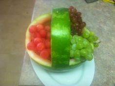 Watermellon basket. With grapes on the inside!