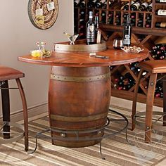 Vintage Oak Half Wine Barrel Bar & Stools with Leather Seats at Wine Enthusiast - $1095.00