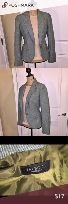 Talbots blazer. Wool blend Chevron blazer. Fitted. Flattering fit.  Fabric is green with hints of olive and taupe. Fantastic item. Talbots Jackets & Coats