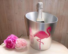 French Vintage Pink Flamingo Champagne Bucket / Ice Bucket/ Wine Cooler - Seau à Champagne ou Vin Pink Flamingo de la boutique FrenchVintageByManue sur Etsy