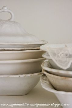 Old bowls & lace. My little white home by Nadine (Had to delete the other ones I've posted..)