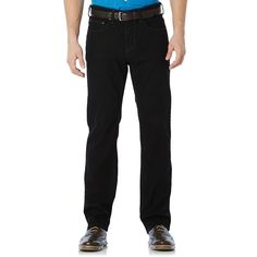 Men's Savane Straight-Fit Active Flex Denim Pants, Size: 30X30, Black