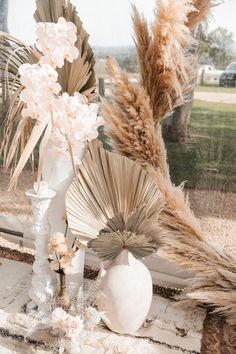tropical preserved leaves and pampas grass wedding decor Wedding Table, Wedding Ceremony, Wedding Vases, Wedding Bouquets, Reception, Wedding Dresses, Byron Bay Weddings, Beach Weddings, Succulent Centerpieces
