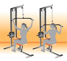Works: Lats, rhomboids, posterior deltoid  Set machine to a challenging weight you can control. Hold bar with hands wider than shoulders with palms facing away from you. Exhale and pull bar down in front of body to about eye level. Inhale and control the