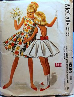 Vintage 1960s McCall's 6384 Girl's Dress Sewing Pattern, size 14, bust 32, attached Petticoat