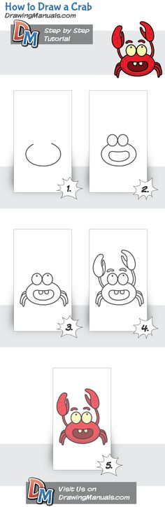 to Draw a Crab, drawing tutorial Doodle Drawings, Cartoon Drawings, Easy Drawings, Animal Drawings, Doodle Art, Drawing Lessons, Drawing Techniques, Art Lessons, Drawing For Kids