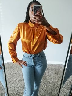 f847901e537727 50% SUMMER SALE Vintage Vickie Lester Ochre Golden Yellow Silky Shiny High  Collared Minimal Long Sleeve Top Blouse Shirt 8 Medium