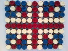 union jack cupcake display. I love that the red is crimson and blue is dark.