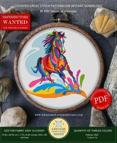 This is modern cross-stitch pattern of Horse Watercolor for instant download. You will get a PDF file, which includes: - main picture for your reference; - colorful scheme for cross-stitch; - list of DMC thread colors (instruction and key section); - list of calculated thread