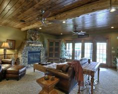 Traditional Family Room Log Cabin Decorating Design, Pictures, Remodel, Decor and Ideas - page 9