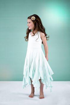 7ec23353fd0 Flower Girl Dress Waterfall Dip Dye - Seafoam - Pixie-Girl.com Seashell  Wedding
