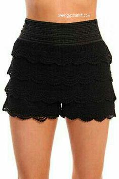 Cruise Creek Black Crochet Shorts