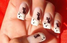 I want some of these on my nails! Cat Nail Art, Cat Nails, Paw Print Nails, Manicure, Hello Kitty Nails, Gel Nail Art Designs, Nagel Gel, Fancy Nails, Fabulous Nails