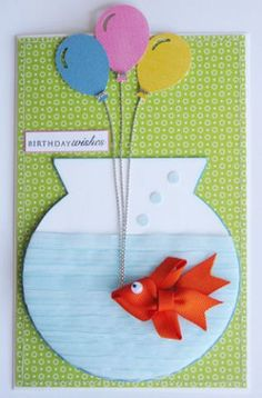 Ribbon fish card for a gift.