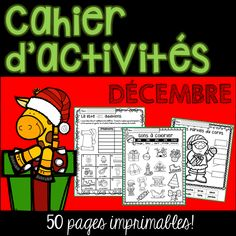 This Christmas pack contains 50 pages of easy, quick and fun review activities for reading, writing and math. Use for morning, homework, group or independent work and fast finishers. The best part is that there is NO PREP! Just PRINT! #cahiertempslibre #cahieractivités #cahierdenoël #travailautonome
