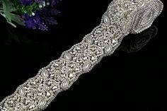 1 Yard Rhinestone Bead Applique Crystal Bead Applique Bridal Sash Applique *** Click image for more details.