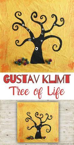 Gustav Klimt Tree of Life Art for Kids Art Activities For Kids, Easy Crafts For Kids, Art For Kids, Cool Art Projects, Projects For Kids, Tree Of Life Art, Artist Project, Gustav Klimt, Simple Art
