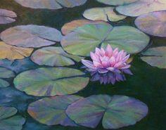 """""""Water Lilies-         24 x 30 Oil"""" - Original Fine Art for Sale - © Marta L Suarez"""