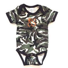 A personal favorite from my Etsy shop https://www.etsy.com/listing/469278378/monogrammed-camo-baby-onesie