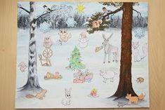 Meillä on ollut kahtena peräkkäisenä vuonna tarina-joulukalenteri. Olen itse maalannut taustan ja keksinyt siihen kaksi eri tarinaa. Mietin... Arts And Crafts, Seasons, Kids, Children, Christmas, Prints, School, Young Children, Young Children