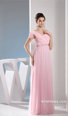 Hemline/ Train:Floor-Length;Fabric:Chiffon,Silk-like Satin;Neckline:V-neck;Body Shape:Plus Sizes,Apple,Hourglass,Inverted Triangle,Misses,Pear,Petite,Rectangle;Sleeve Length:Sleeveless;Silhouette:Sheath/ Column;Embellishments:Beading,Pleats;Season:Spring,Summer,Fall,Winter;Shown Color:Pink This prom/bridesmaid dress features v-neck neckline and sheath silhouette. Made of chiffon and silk-like satin with beading and ruffles decorated on bodice. Back hidden zipper closure. Various colo and…
