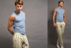 Wolf vs Goat V-neck Muscle Shirt in Midnight Blue, Paul Pant in Lime Stripe Twill.