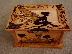 Woodburned Box Fairy and Mushrooms by TheForestNymph on Etsy, $30.00