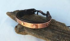 Leather and Copper Bracelet Men's Leather and by ColeTaylorDesigns: