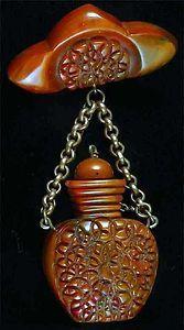 Vintage Carved Bakelite Perfume or Scent Bottle Brooch