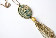 One of a kind! - an intricately handmade chain tassel hangs from a stunning shimmering aqua blue vintage style carved cameo cabochon - statement pendant. Sea Jewelry, Tassel Jewelry, Handmade Jewelry, Jewellery, Vintage Style, Vintage Fashion, Aqua Blue, Jade, Tassels