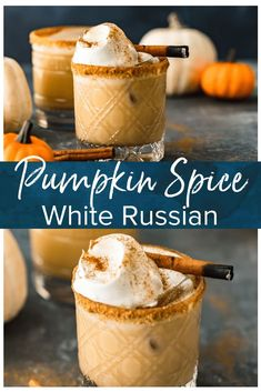 This Pumpkin Spice White Russian Cocktail is exactly what you need to be sipping on this season. This festive fall cocktail brings the perfect pumpkin flavor to a classic White Russian with the additi Fall Cocktails, Holiday Drinks, Halloween Cocktails, Craft Cocktails, Drinks Alcohol Recipes, Yummy Drinks, Cocktail Recipes, Fall Drinks Alcohol, Fall Mixed Drinks