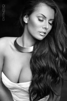 long flowing waves black hair white dress forest blackandwhite model portrait collar necklace pearl stud earrings