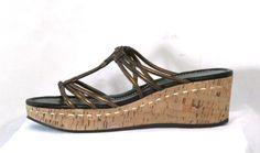 DONALD J. PLINER Bronze Leather Cork Wedge Slide Sandals, Shoes Women's SZ 10M #DonaldJPliner #PlatformsWedges