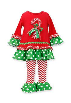 Bonnie Jean� 2-Piece Candy Cane Dot Tunic and Legging Set Toddler Girls 4t
