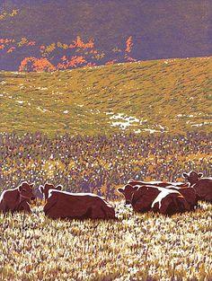 Autumn Girls: William Hays: Linocut Print - Artful Home