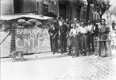 19 July 1936 -- barricades in Barcelona #Spain #war