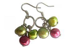 Fuchsia and Lime Freshwater Pearl Earrings