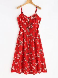 Smocked Button Up Floral Dress. This cami dress has all the signs of a great vacation or a summer date, just check out the vivid floral prints! The button-up closure on the front with a subtle slit detail adds an edgy touch and a stretchy smocked back offers an adjustable fit, which makes this dress equally ready for a little flirt and romance. Just wear it to show yourself now. #Zaful #Dress #Outfits
