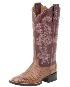 A new, exclusive Lucchese stitch pattern loops along the richly colored quarter, pairing a feminine leather quarter with a bold caiman belly leather vamp. Soft leather lining and cushioned insoles bring much comfort and long wear. Pull tabs and dip openings make it easier pulling on. Handmade in Mexico since 1883.