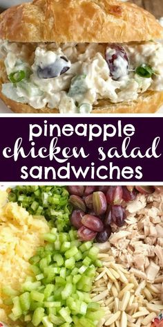 Pineapple Chicken Salad Sandwiches Chicken Salad Chicken Salad With Sweet Pineapple, Red Grapes, Green Onions, Almonds, And Celery All Covered In A Creamy Dressing. Serve In Croissant Rolls Or In Your Favorite Bread Roll. Chicken Salad Recipes, Healthy Salad Recipes, Salad Chicken, Chicken Salad Sandwiches, Chicken Salad Croissant, Gluten Free Chicken Salad Recipe, Chick Fil A Chicken Salad Recipe, Turkey Salad Sandwich, Tuna Sandwich Recipes