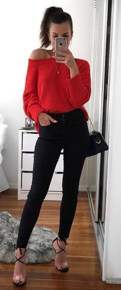 fashion inspiration / red sweater + bag + heels + black skinnies #omgoutfitideas #stylish #look