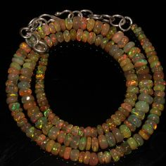 "55 Crts 1 Strands 3 to 6 mm 16""Beads necklace Ethiopian Welo Fire Opal  A+++935"