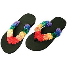 Rainbow Flip Flops  Our rainbow flip-flops are a playful step above ordinary summer footwear--perfect for the beach, bath or lounging around the house. Tops are so soft you won't know you have them on.
