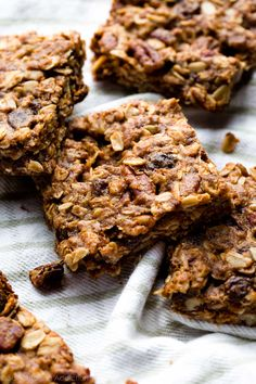 Delicious, wholesome, and dairy free, these soft oatmeal raisin cookie granola bars are an easy healthy snack that comes together in minutes!