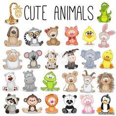 """Laden Sie den lizenzfreien Vektor """"Set of Cute Animals"""" von reginast777 zum günstigen Preis auf Fotolia.com herunter. Stöbern Sie in unserer Bilddatenbank und finden Sie schnell das perfekte Stockbild für Ihr Marketing-Projekt!"""