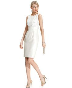 Tahari By Asl Dress Sleeveless Beaded Lace Sheath Womens Wedding Dresses Macy S