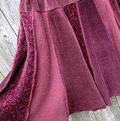 Burgundy Recycled Skirt Marsala Drawstring Velour by ThankfulRose