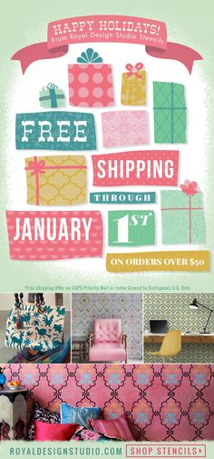 Free Shipping for the rest of the year! Ends 1/1/2016 Shop wall stencils, furniture stencils, floor stencils, ceiling stencils, and more for beautiful DIY home decor! http://www.royaldesignstudio.com/