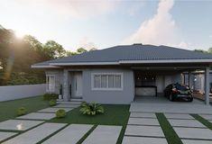 100 fachadas de casas modernas e incríveis para inspirar seu projeto House Cladding, Facade House, Vista Frontal, Driveway Design, Bungalow House Design, House Paint Exterior, Entrance Gates, Gate Design, House Painting