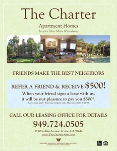 refer a friend apartment flyer